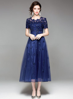 Mesh Double-layered Big Hem Maxi Dress