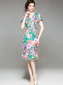 Sexy V-neck Floral Skinny Mermaid Dress