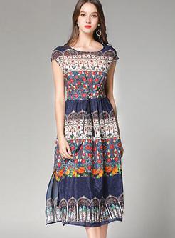 Fashionable O-neck Print Sleeveless Skater Dress