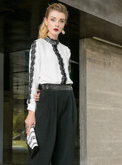 Stylish Stand Collar Lace-Paneled Cardigan Blouse