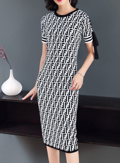 Elegant Print Knitting Bodycon Dress