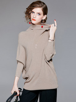 Stylish High Neck Batwing Sleeve Pullover Sweater