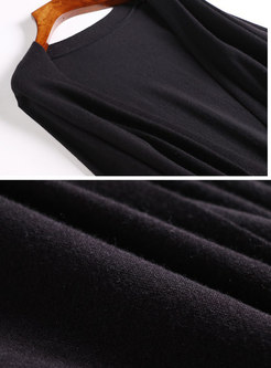 Fashion Flare Sleeve Knitted Cardigan Long Coat