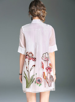 Loose Organza Embroidery Dress