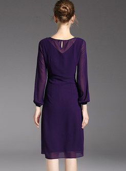 Purple Elegant Nail Bead Chiffon Dress