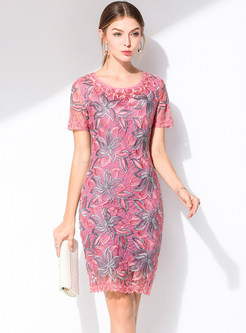 fd6bb549b1c3 Pink Embroidered Mesh Embroidered Bodycon Dress ...
