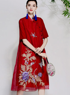 Red Vintage Gauze Embroidery Shift Dress