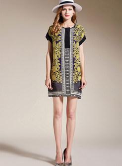 8aa88b45265 ... Silk Sunflower Print Plus Size Shift Dress ...