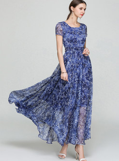 Blue Perspective Floral Print Maxi Dress