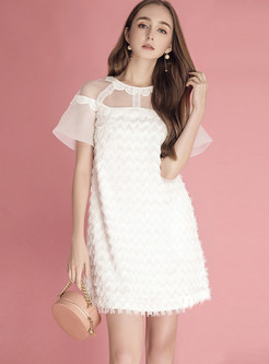 White Stereo Decoration Mesh Splicing Shift Dress