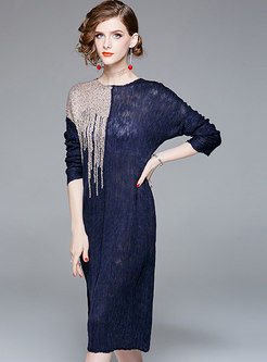 Chic Long Sleeve Splicing A Line Dress