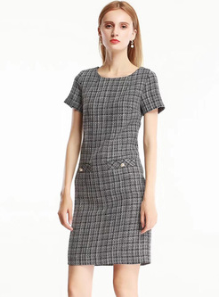 Fashionable Plaid Waisted Bodycon Dress