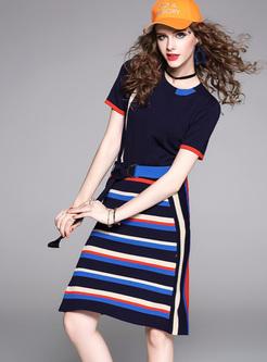 Knitted Slim T-shirt & Bodycon Skirt