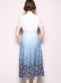 Short Sleeve Openwork Lace Skater Dress