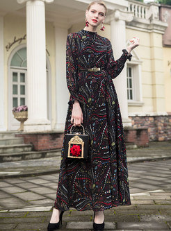 Street Vintage Flare Sleeve Chiffon Big Hem Dress
