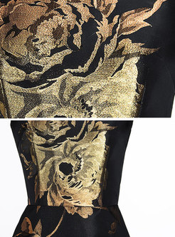Black Long Sleeve Print Slim Maxi Dress