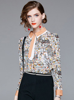 Ethnic Print Silk Lapel Blouse