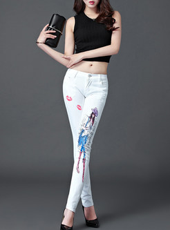 Chic Girl Handed Slim Pencil Pants