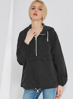 Stylish Hooded Zippered Loose Coat