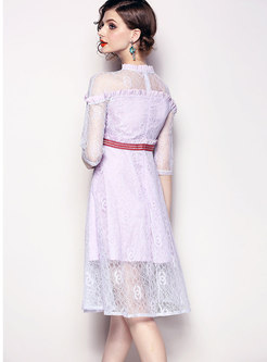 Stylish Lace-Paneled Slim Dress