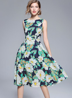 Print Sleeveless Big Hem Dress