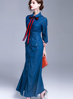 4ef089c2b1 ... Elegant Single-breasted Skinny Denim Dress ...