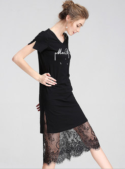Street Black Print V-neck T-shirt Dress Without Lace Skirt