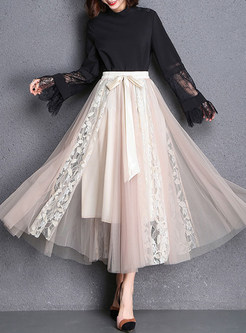 Brief Lace Mesh Belted A Line Skirt