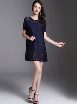 Pure Color Mesh Splicing Mini Dress