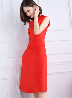 OL Sleeveless Skinny A Dress