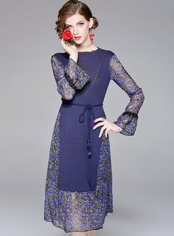 Elegant Splicing Long Sleeve A Line Knitted Dress