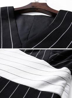 Sexy Sleeveless Striped Bodycon Dress