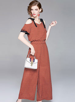 Chic Polka Dots Off Shoulder Top & Polka Dots Wide Leg Pants