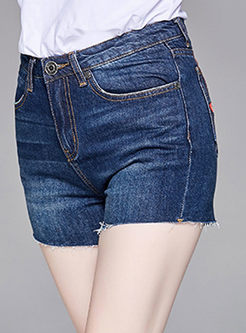 Street Denim Tied Slim Shorts
