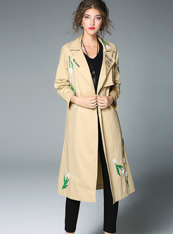 Khaki Embroidered Tie-waist Long Trench Coat