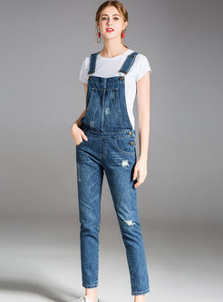 Blue High Waist Slim Overalls