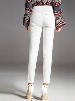 White Hollow Out Slim Pencil Pants