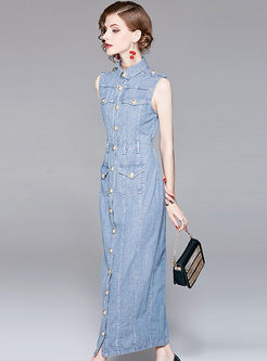 Vintage Single-breasted Sleeveless Denim Maxi Dress
