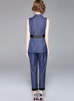 Denim Lapel Sleeveless Belted Top & Pencil Pants