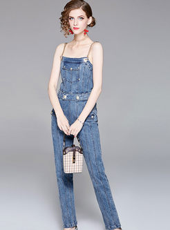 Fashion High Waist Belted Denim Overall