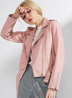 Casual PU Lapel Slim Short Coat
