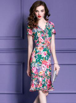 Chic V-neck Print High Waist Mermaid Dress