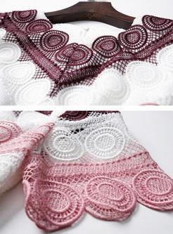 Stylish Lace Splicing Striped Waist Sheath Dress