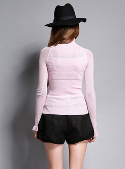 Flare Sleeve Hollow Out Slim Sweater