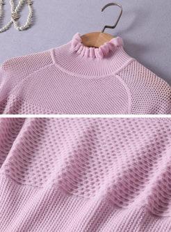Flare Sleeve Openwork Slim Pullover Sweater