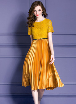 Lace-Paneled Pleated Gathered Waist Dress