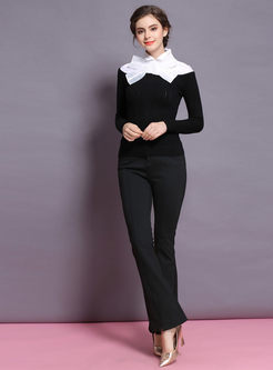 Elegant Color-blocked Bowknot Slim Knitted Sweater