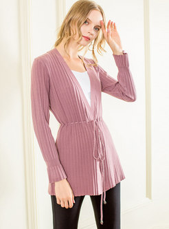 Trendy Long Sleeve Self-Tie Cardigan Knitted Sweater