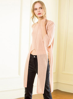 Three Quarters Sleeve Slit All-match Knitted Sweater
