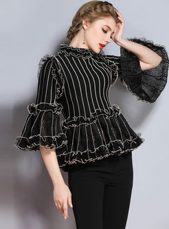Ruffled Collar Flare Sleeve Striped Knitted Sweater